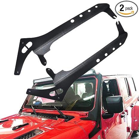 Omotor Jl Led Light Bar Mounting Brackets Upper Windshield Mounting Bracket For 52 Led Light Bar Fits Jeep Wrangler Jl 2018 2019