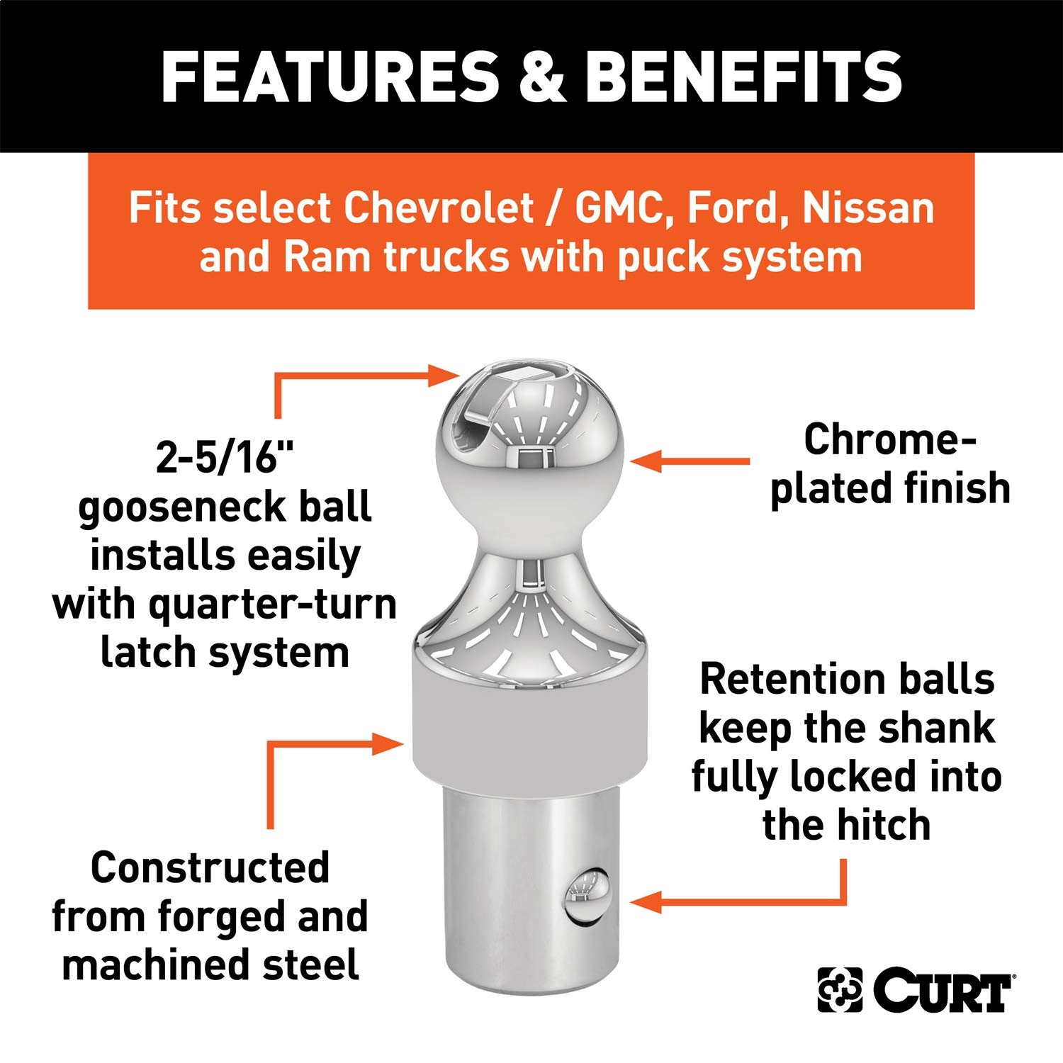 CURT 60629 OEM Puck System 2-5/16-Inch Gooseneck Ball for Chevrolet, Ford, GMC, Nissan, Ram Trucks, 30,000 lbs. GTW, OEM Puck System Required by CURT