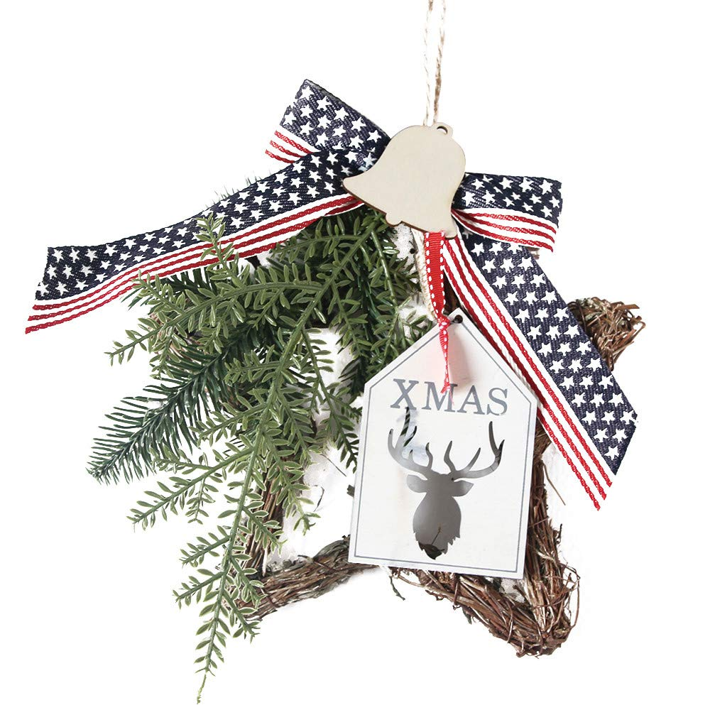 Christmas Wreath, Wawer Merry Christmas Pine/Bowknot/Berry/Rabbit Decorations, Christmas Artificial Flowers Ornaments, Xmas Door Wall Hanging Garland Ornament (C)