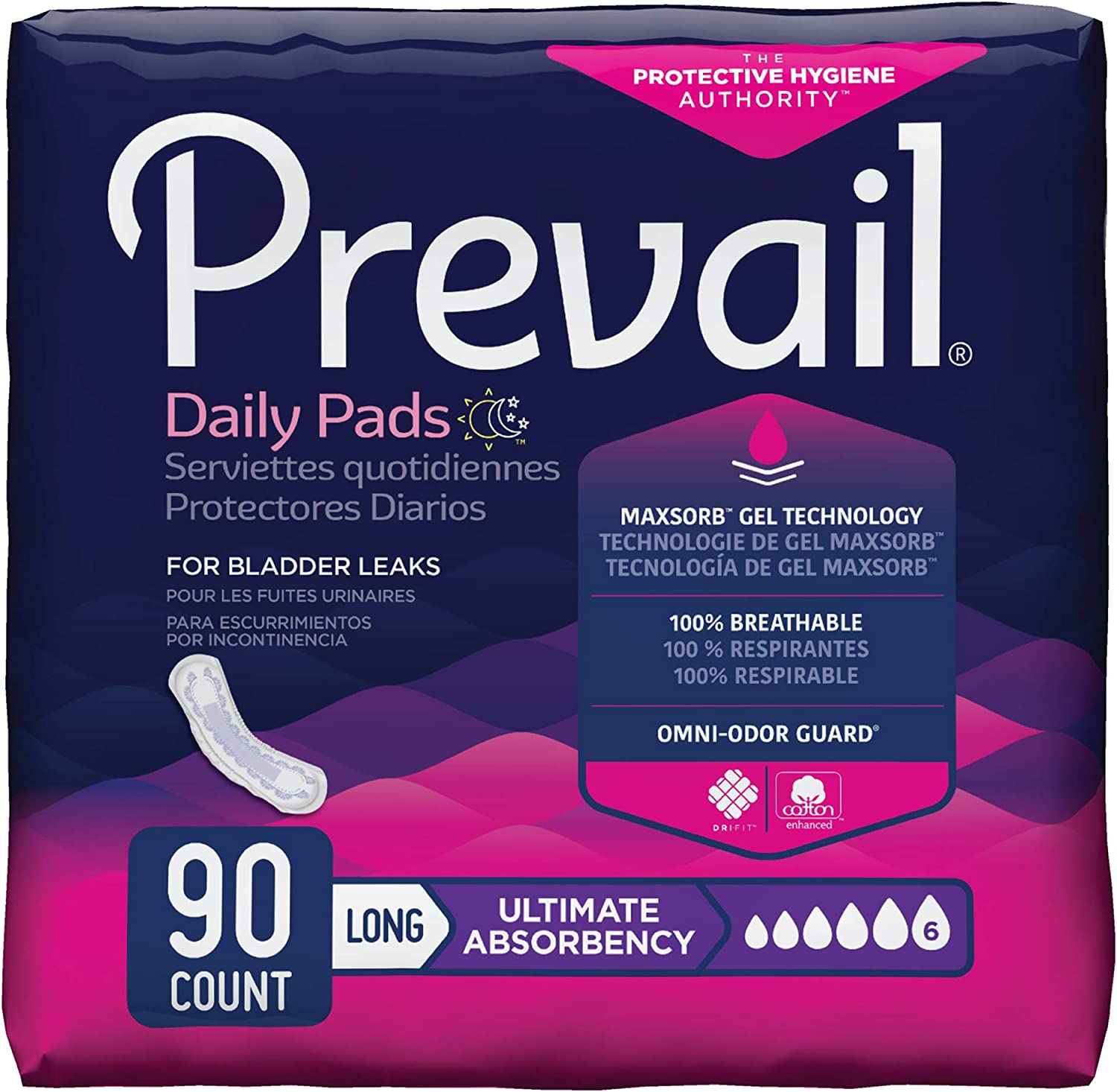 Prevail Incontinence Bladder Control Pads, Ultimate Absorbency, Long, 90 Count: Health & Personal Care