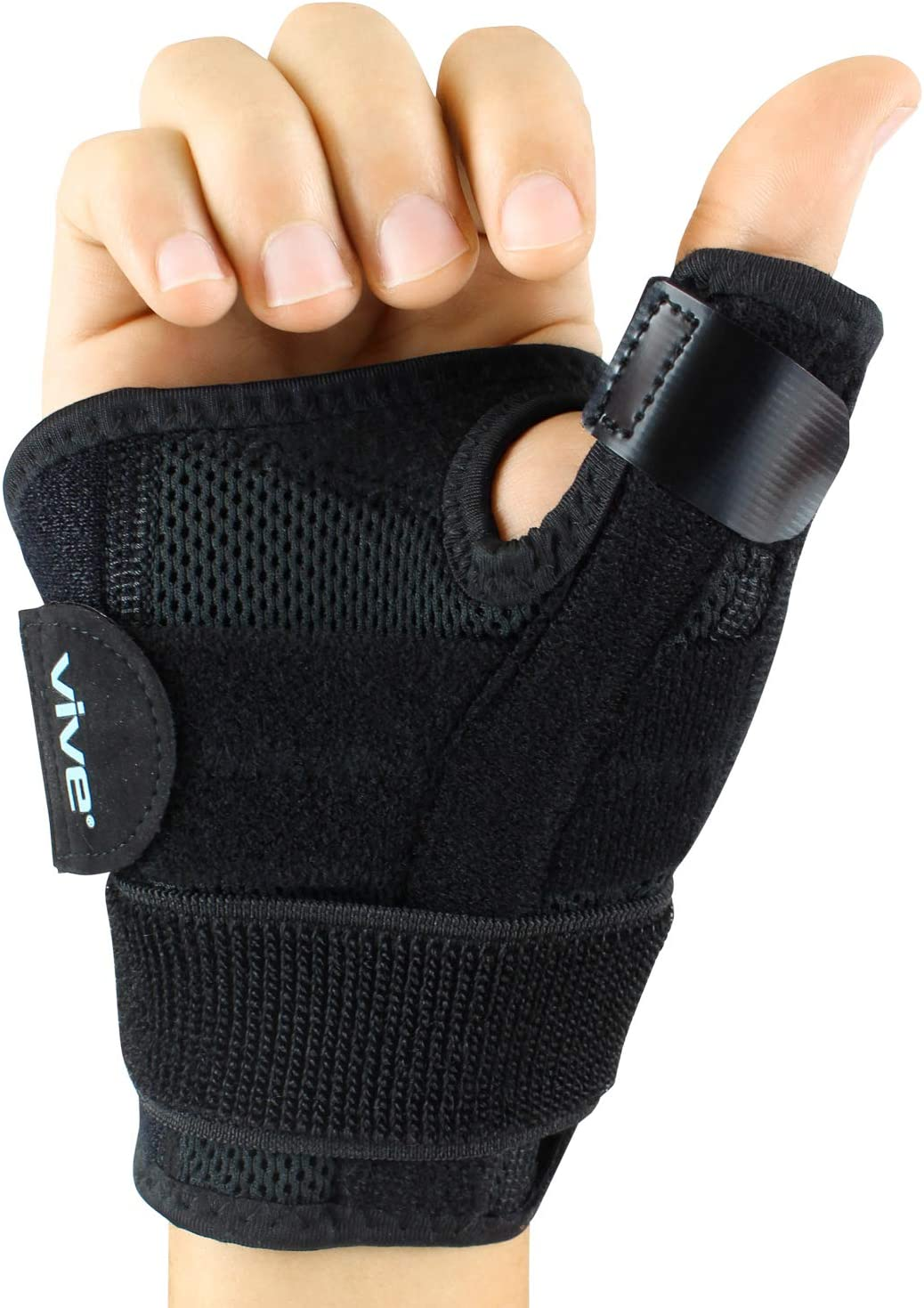 Vive Arthritis Thumb Splint - Thumb Spica Support Brace for Pain, Sprains, Strains, Arthritis, Carpal Tunnel & Trigger Thumb Immobilizer - Wrist Strap - Left or Right Hand (Black): Health & Personal Care