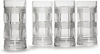 4 Ralph Lauren Glen Plaid Crystal Highball Tumblers Glasses