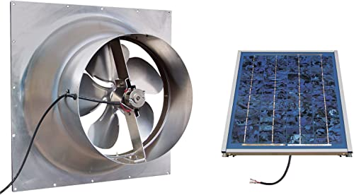 Solar Powered Attic Fan – 12 Watt Gable Exhaust Vent – Natural Light