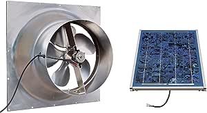 Solar Powered Attic Fan - 12 Watt Gable Exhaust Vent - Natural Light