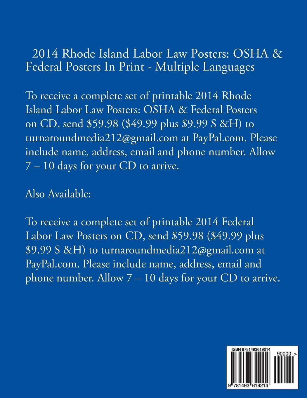 2014 Rhode Island Labor Law Posters: OSHA & Federal Posters In Print - Multiple Languages by CreateSpace Independent Publishing Platform