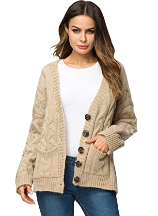 Doballa Damen lose grobe Strickjacke mit Zopfmuster Button