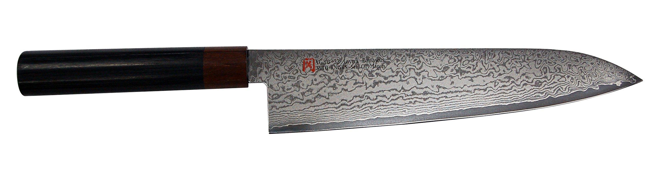 SETO Japanese Chef Knives: Damascus Forged Steel from World Famous Seki, Japan (I-4 Pro: 210m/ m: GYUTO KNIFE)
