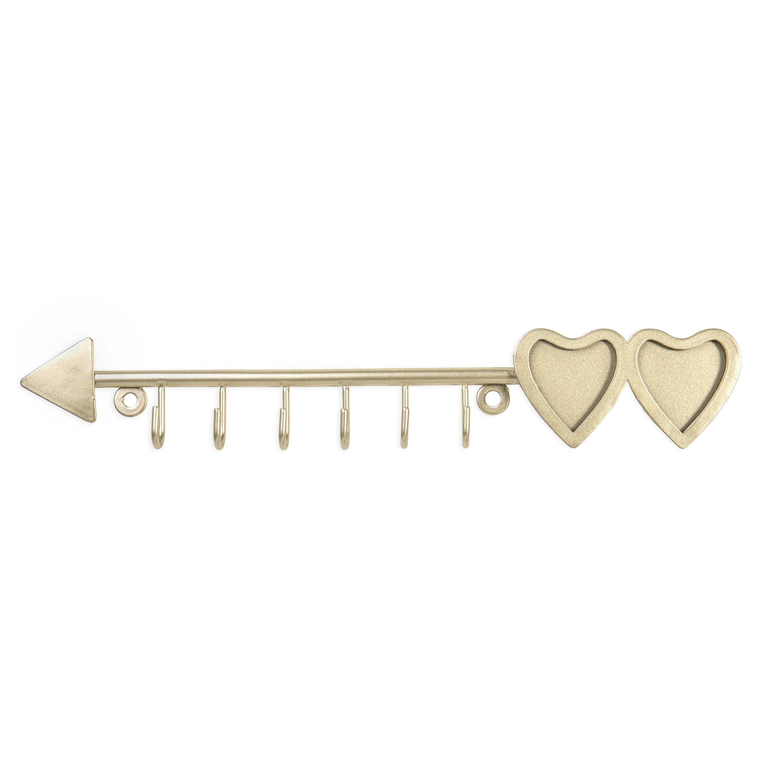 MyGift Brass-Tone Arrow Design Hanging Necklace Rack 2 Heart-Shaped Photo Frames