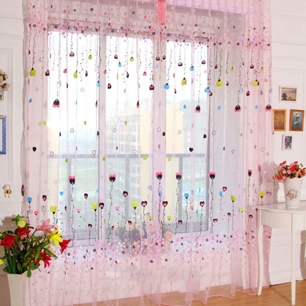 Ocamo 1PC Flying Balloon Tulle Curtain Window Screening Gauze Drape Balcony Voile for Home Hotel Decoration Unwashable (Rod Pocket Version) Pink 100X200CM