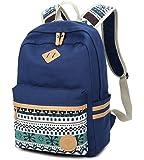 Mädchen Schulrucksack,Fashion Damen Canvas Rucksack Polka Punkt süße Spitze Kinderrucksack Outdoor Freizeit Daypacks Schultaschen für Teenager 16.5x13x5.5 Zoll (Blau)