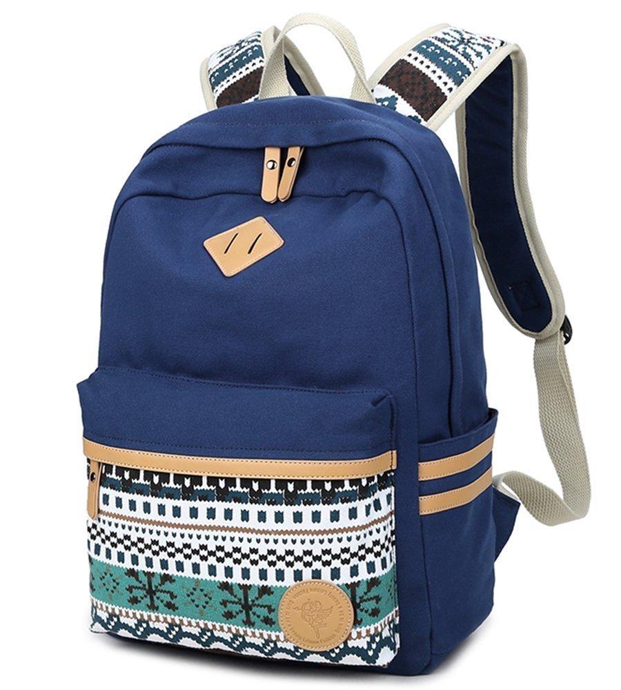 Mädchen Schulrucksack, Fashion Damen Canvas Rucksack Polka Punkt süße Spitze Kinderrucksack Outdoor Freizeit Daypacks Schultaschen für Teenager 16.5x13x5.5 Zoll (Blau) Mädchen Schulrucksack