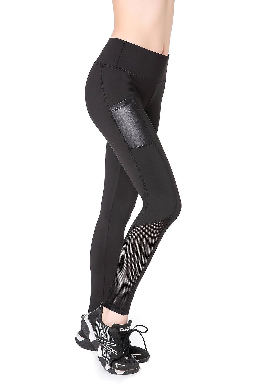 EAST HONG Womens Mesh Capri Workout Yoga Pants Running Tights Active Leggings