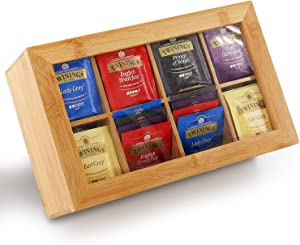 Tea Box Storage Bamboo,Nature Tea Bag Organizer 8 Compartments Taller Size Holds 120+ Standing or Flat Tea Bags for Coffee,Tea,Sugar Packets,Sweeteners,Creamers,Drink Pods and More