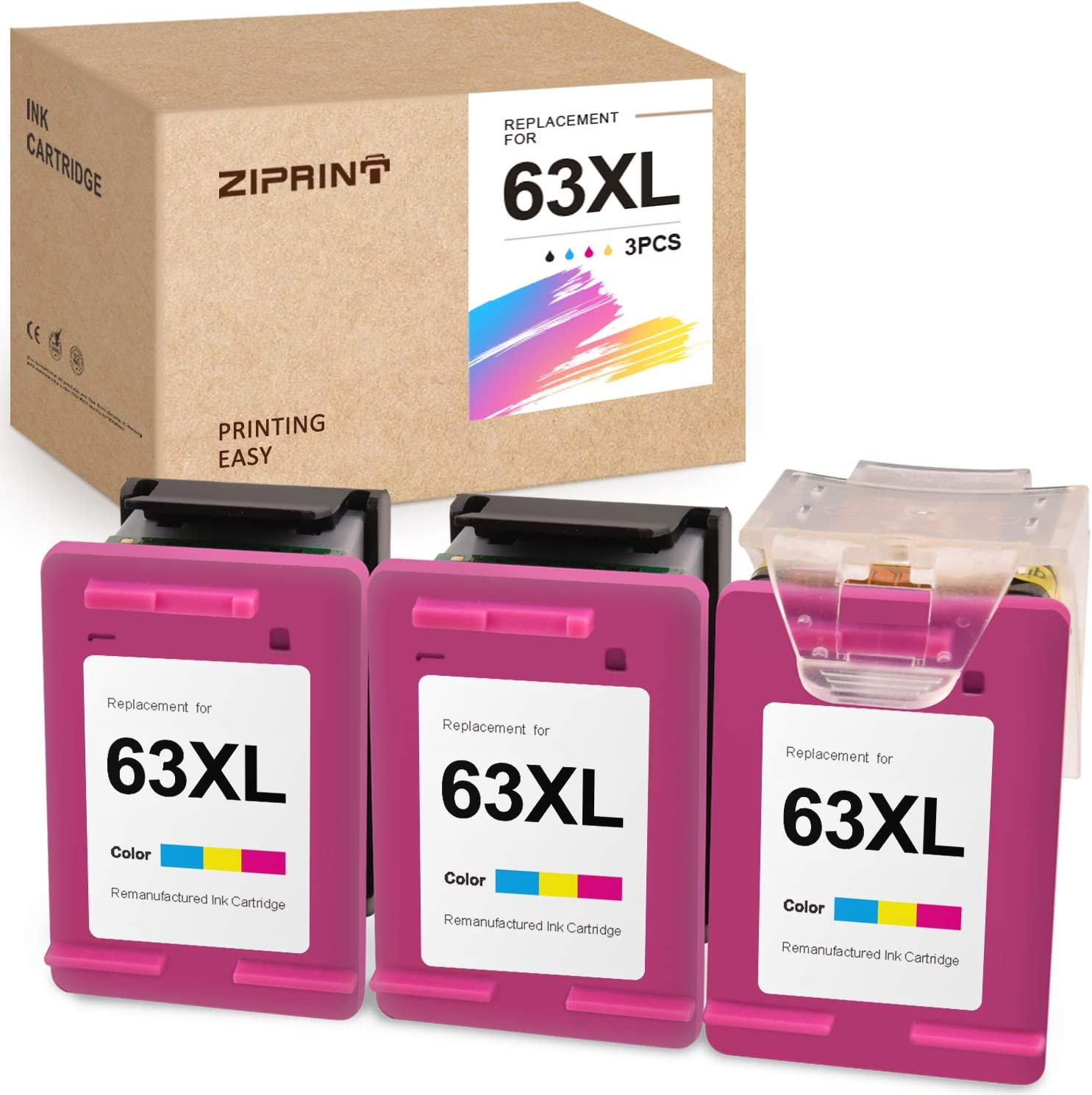 ZIPRINT Remanufactured Ink Cartridge Replacement for HP 63 63XL ECO-Saver for OfficeJet 3830 3630 3631 3632 4650 4652 4655 5252 5255 5258 DeskJet 1112 2130 2132 Envy 4520 4512 (3 Tri-Color)