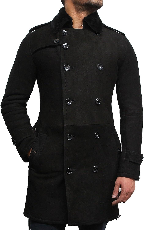 Brandslock Hombres de lujo de piel de oveja Merino piel de oveja con cinturón de guisar Escudo de la marina de guerra alemán largo