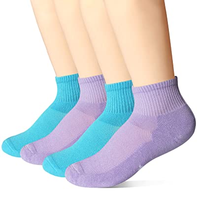 +MD 4 Pack Womens Bamboo Cushioned Sports Ankle Socks Colorful Moisture Wicking Quarter Casual Socks at Women's Clothing store