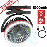 OUTXE Camping Fan with LED Light 5000mAh/6700mAh Clip-On Tent Fan with Hanging Hook USB Rechargeable Tent Fan Portable…