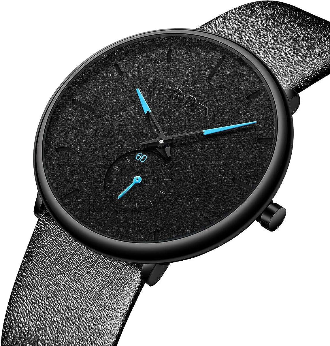 Men Minimalist Ultra-Thin Leather Watch Simple Business Analog Quartz Watch for Men