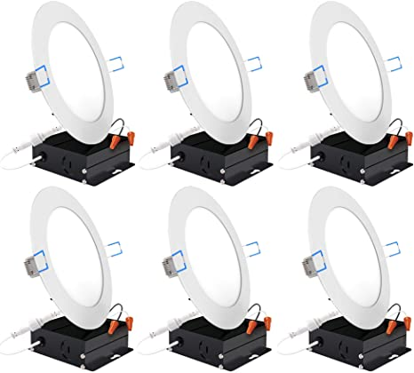 Retrofit Installation IC Rated Dimmable Junction Box 850 LM 2700K Soft White 14W=100W Baffle Trim ETL /& Energy Star Sunco Lighting 16 Pack 6 Inch Slim LED Downlight Recessed Jbox Fixture