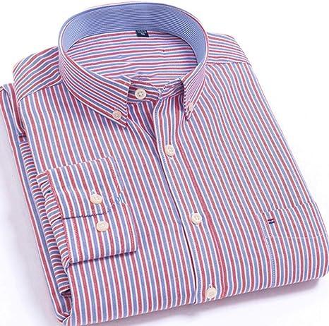 YAYLMKNA Camisa Camisa A Rayas De Manga Larga para Hombre Bolsillo De Un Solo Parche con Camisas con Botones De Yugo Trasero con Pliegues Rectos, M: Amazon.es: Deportes y aire libre
