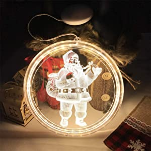 Aliynet 3D Home decot Christmas Lights,Outdoor Chrismas or décor for Living Room led Light,Battery Operated Easy to use, 2020 Newest Christmas-Decorative Light (Santa)