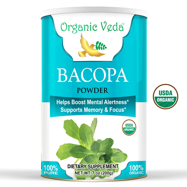 Organic Brahmi Powder - 1 Lb. ★ USDA Certified Organic ★ 100% Pure and Natural Super Food Supplement. Non GMO, Gluten Free. All Natural!