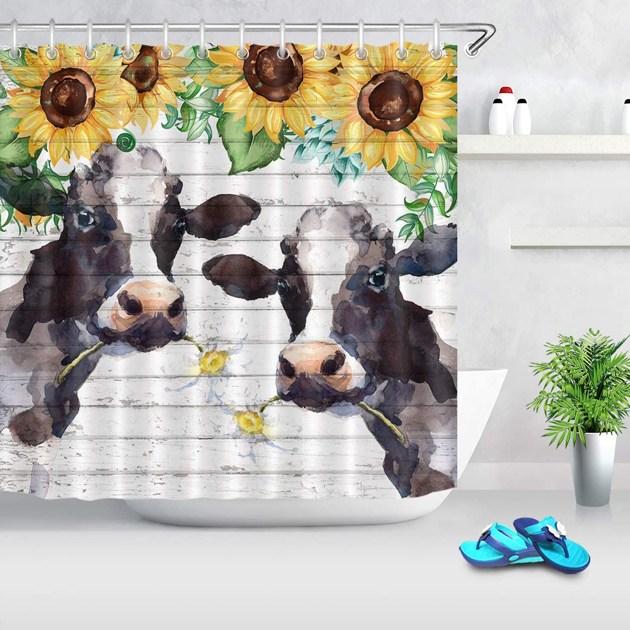 LB Watercolor Farm Cow Shower Curtain Farmhouse Animal Cattle with Daisy Yellow Sunflower Shower Curtain Funny Kids Bathroom Decor 72x72 Inch Polyester Fabric with 12 Hooks