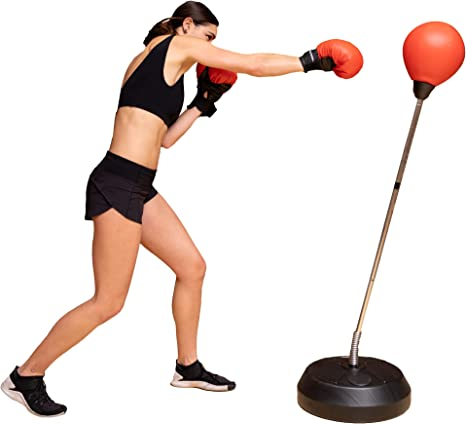Punching Bag with Stand & Gloves - for Adults & Kids