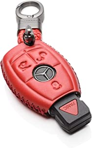 Vitodeco Leather Keyless Entry Remote Control Smart Key Case Cover with a Key Chain for Mercedes Benz (Red)