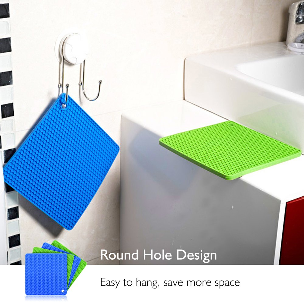 Silicone Pot Holders (Set of 4), Ankway Silicone Trivets Multi-Purpose Hot Pads Heat Resistant to 450 °F, Non-slip, Insulation, Durable, Flexible Trivet for Table Kitchen(2 Blue & 2Green) by Ankway (Image #7)