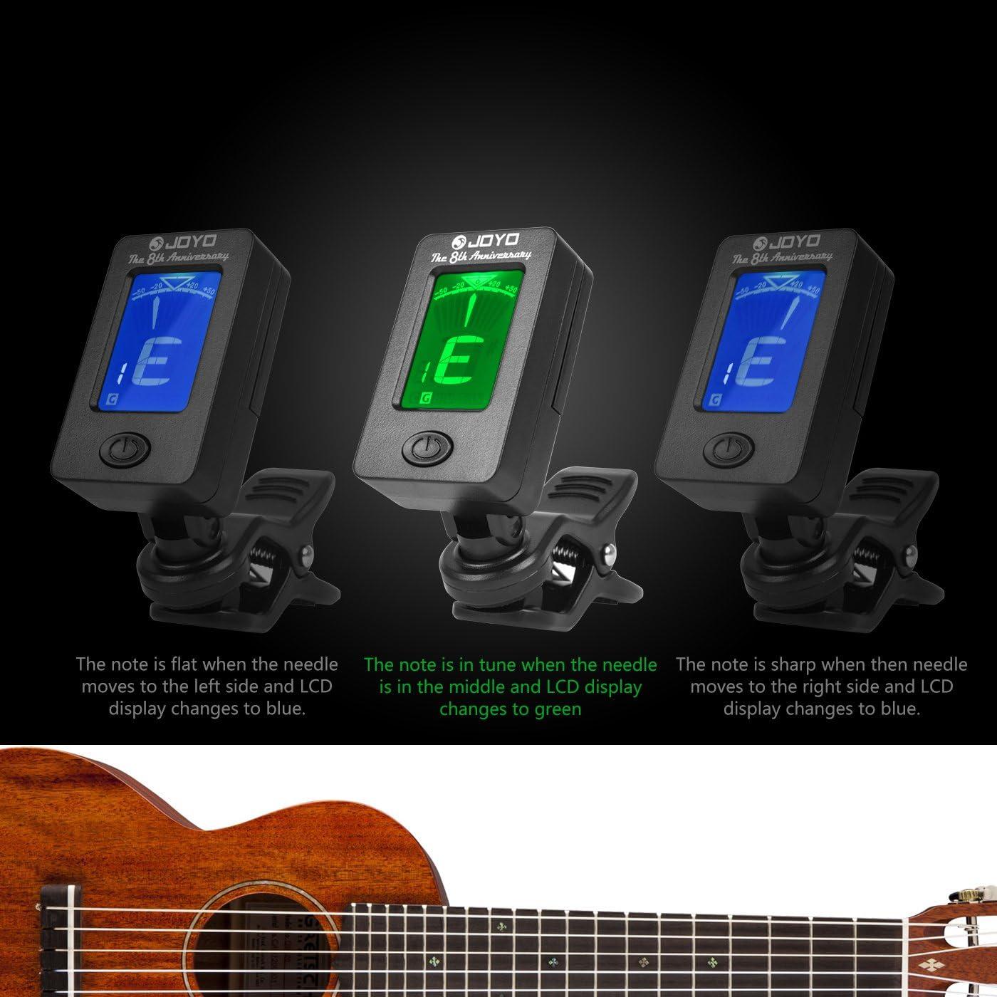 Afinador de Guitarra con 360°Gran Pantalla Colorida Digital ...
