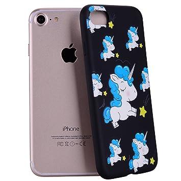 Yunbaozi Funda Compatible para iPhone 7/ iPhone 8 Embossing Case Carcasa Suave Impresión 3D Caucho TPU Flexible Cáscara Delgado Ligero Alivio Negro ...