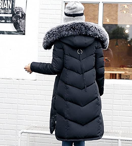 COMVIP Women Long Slim Faux Fur Hood Quilted Jacket Puffer Coat at Amazon Womens Coats Shop