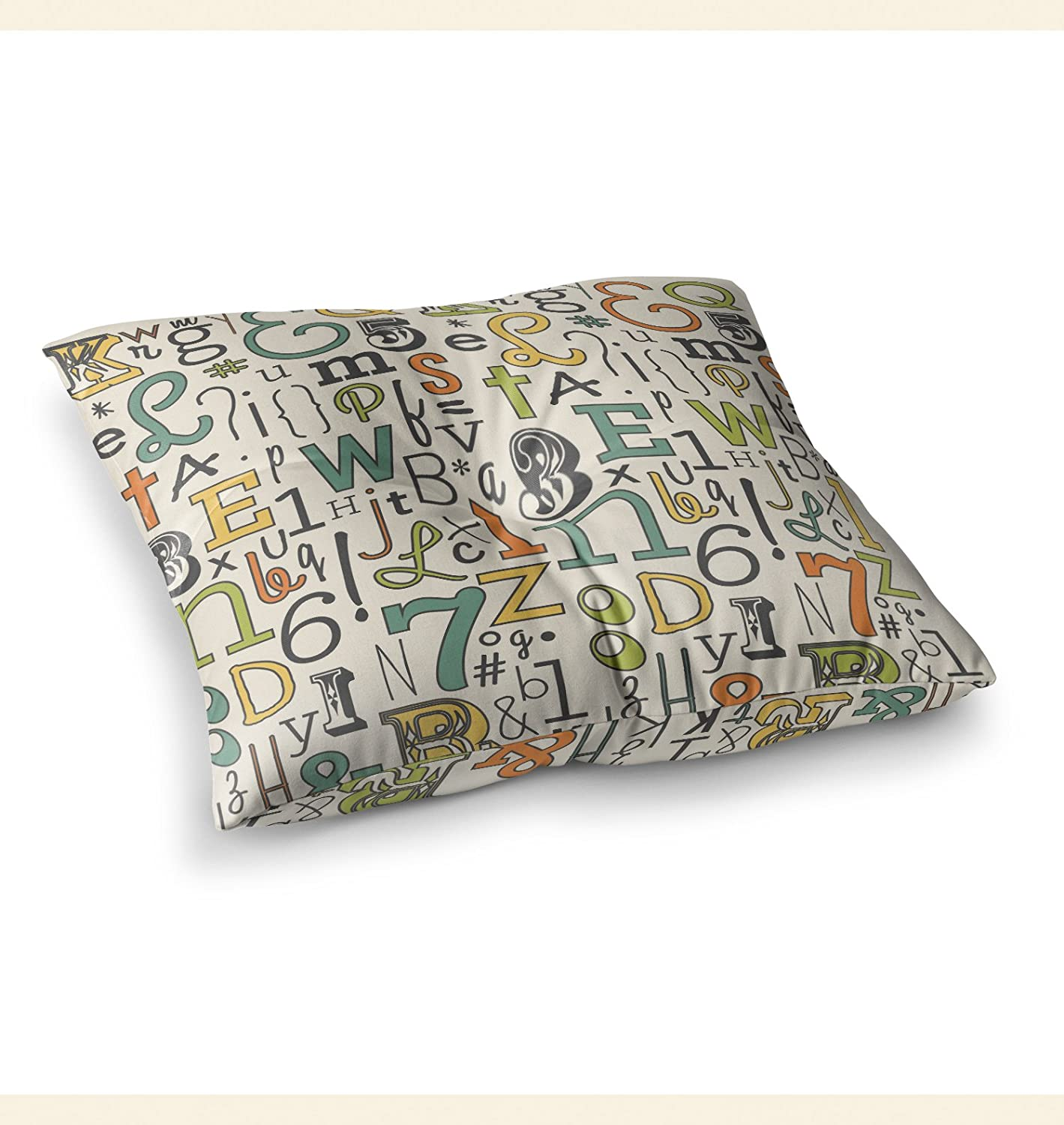 Kess InHouse Busy Bree ABC Beige Letters 23 x 23 Square Floor Pillow