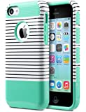 iPhone 5C Case, ULAK Slim Lightweight 2in1 iPhone 5C Cases Hybrid with Soft Rugged TPU Inner Skin and Hard PC Anti Scratches Protective Cover for Apple iPhone 5C (Minimal Mint Stripes)