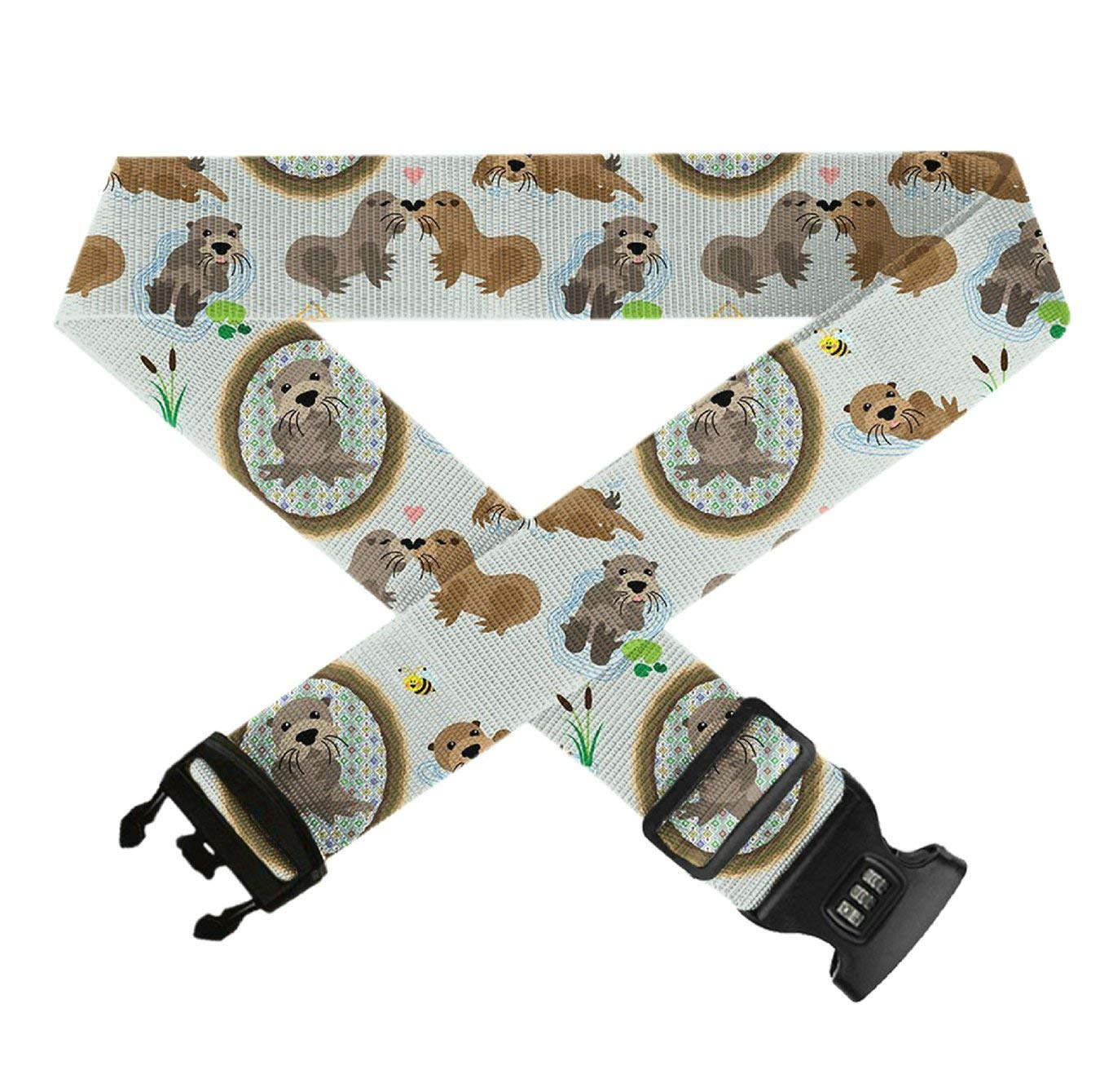 Otters,Heavy Duty Bag Straps 3 Dial Approved Lock for Extra Luggage//Travel//Business GLORY ART Suitcase Belt Straps 1 Pack