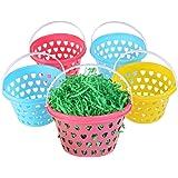 ULTNICE Easter Egg Baskets Plastic 5 Pcs with Easter Grass