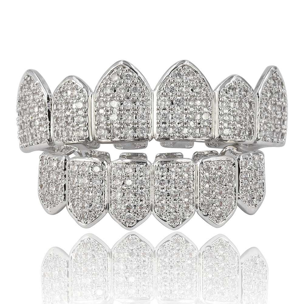 JINAO 18K Gold Plated Macro Pave CZ Iced-Out Grillz with Extra Molding Bars Included¡