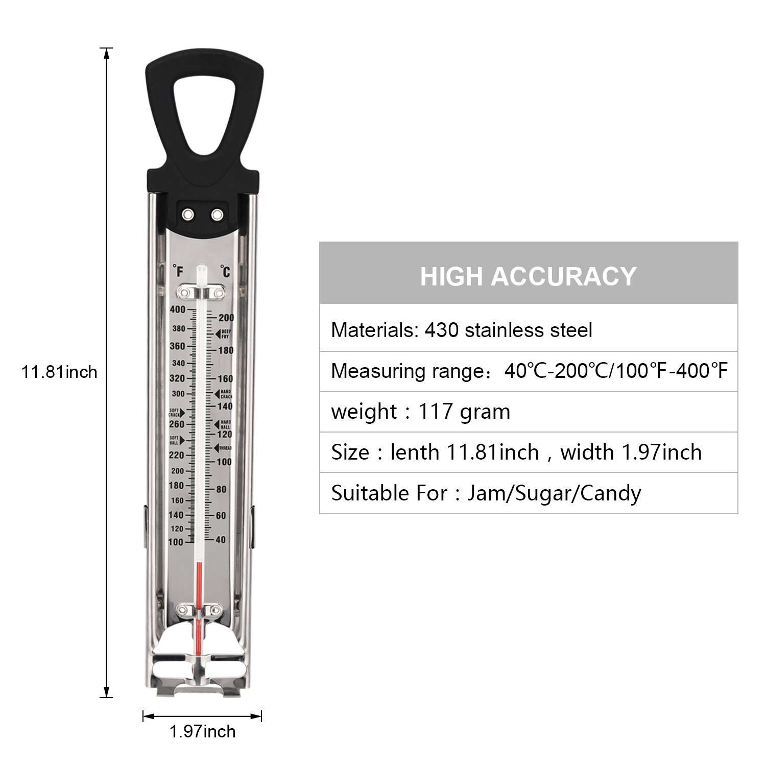 Candy/Jam/Sugar/Syrup Thermometer, Stainless Steel Glass Candy Thermometer With Hanging Hook and Non-toxic Aviation Kerosene Rod Core by Telead (Image #7)