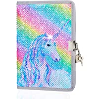 ICOSY Sequin Girls Diary with Lock, Girls Secret Journal Unicorn Mermaid Sequin Notebook Kids Travel Diary Unicorn Gift for Boys and Girls School Notebook