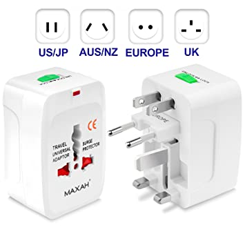 MAXAH Universal Travel Plug Adapter All in One Worldwide Universal Wall  Charger AC Power Plug for