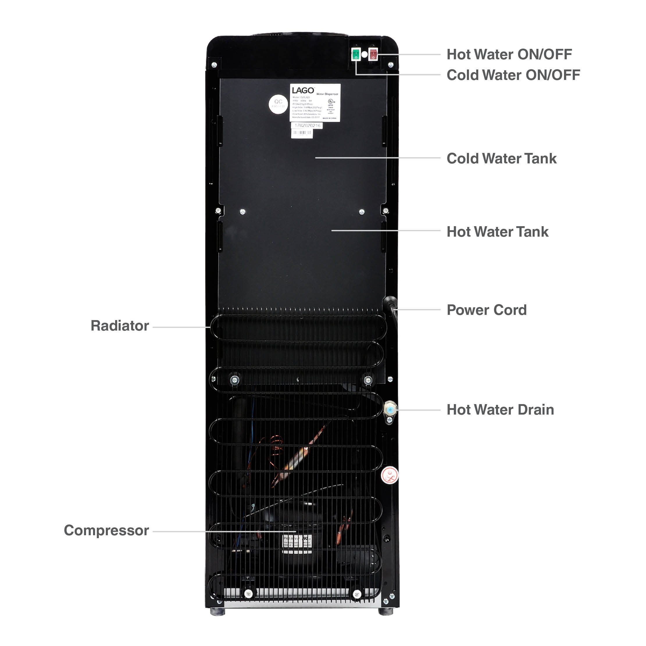 Lago Top Load Hot, Cold & Room Mini Black Water Cooler Dispenser by Lago (Image #5)