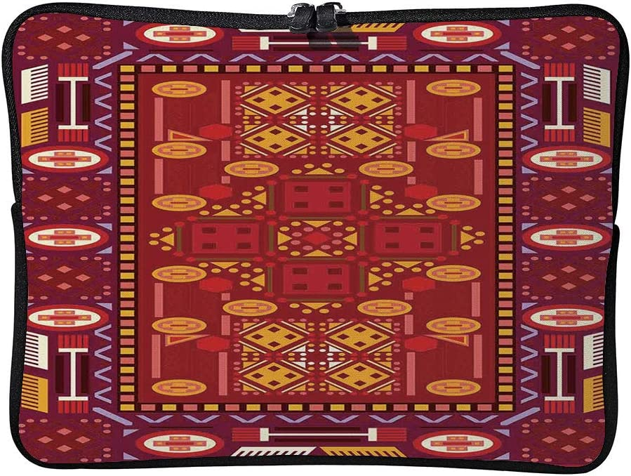 C COABALLA Afghan Afghan Pattern with Eastern Folklore Laptop Sleeve Case Neoprene Carrying Bag for Any Tablet//Notebook AM002509 13 inch//13.3 inch