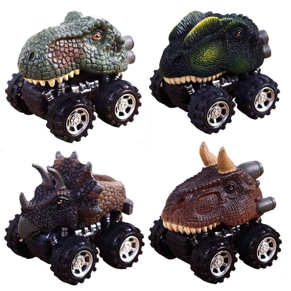 Coches de Juguete de Dinosaurio Para Niños Pequeños, CYMY Dinosaurio Pull Back Coches para Los Regalos de Los Niños 2-9 Años de Edad Chicos Juguetes de Navidad, Regalo de Cumpleaños (paquete de 4)