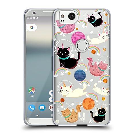 Head Case Designs Cat Space Unicorns Soft Gel Case Compatible for Google Pixel 2