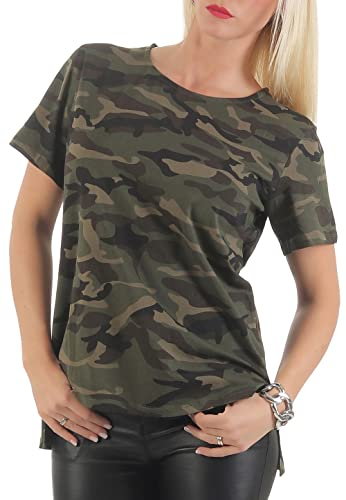 Malito Básico Camiseta EN el Camuflaje Diseño Top Loose CR-1211 Mujer (L/XL, Oliva)