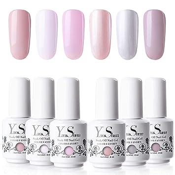 Amazon.com: YaoShun Gel Nail Polish Set - Pastel Pink & Glitters ...