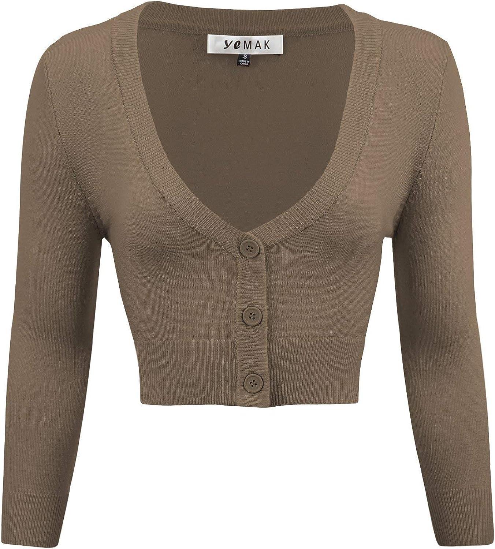 S-4X YEMAK Womens Cropped Bolero 3//4 Sleeve Button Down Cardigan Sweater