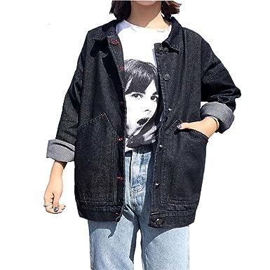 0c575ec531146 Henraly Women Denim Black Jacket Long Sleeve Loose Coats Casual Jeans  Jackets Spring Autumn Vintage Girls
