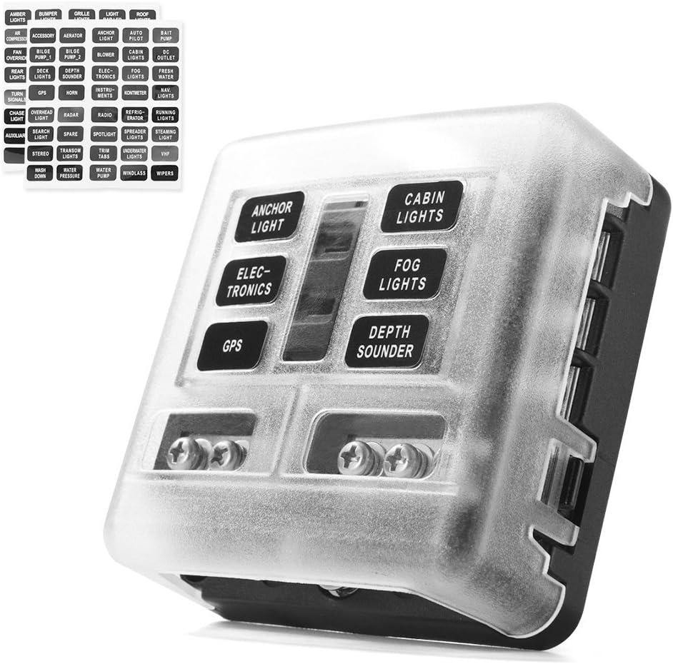 amazon com fuse boxes fuses \u0026 accessories automotivemictuning 6 circuit blade fuse block,6 way fuse box block holder with